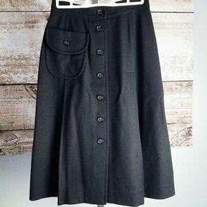 Vintage Pendleton Black Wool Skirt w/ Buttons